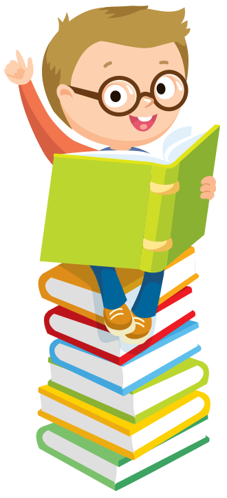 Boy sitting on stack of books